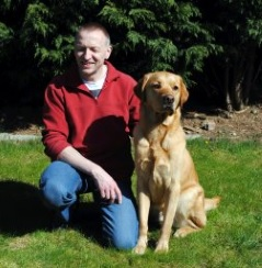 Gary pictured with his Guide Dog Zag